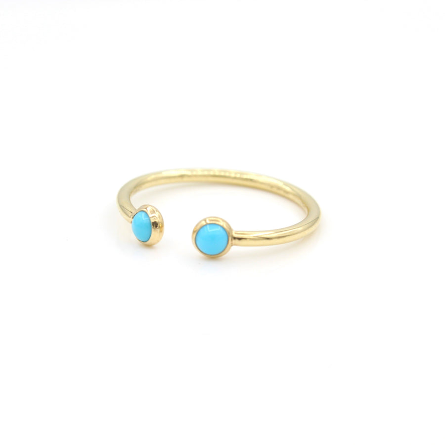 14k Yellow Gold Cabochon Turquoise Open Ring.