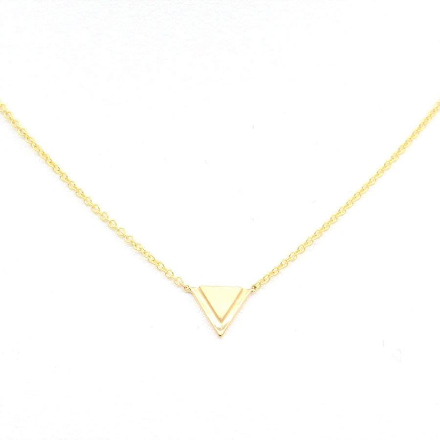 14k Yellow Gold Petite Double Triangle Single Station Pendant.