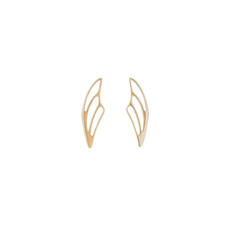 14k Yellow Gold Fairy Wing Ear Climbers Earrings with Posts.