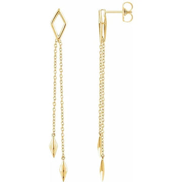 14k YG Geometric Dangle Chain Drop Earrings