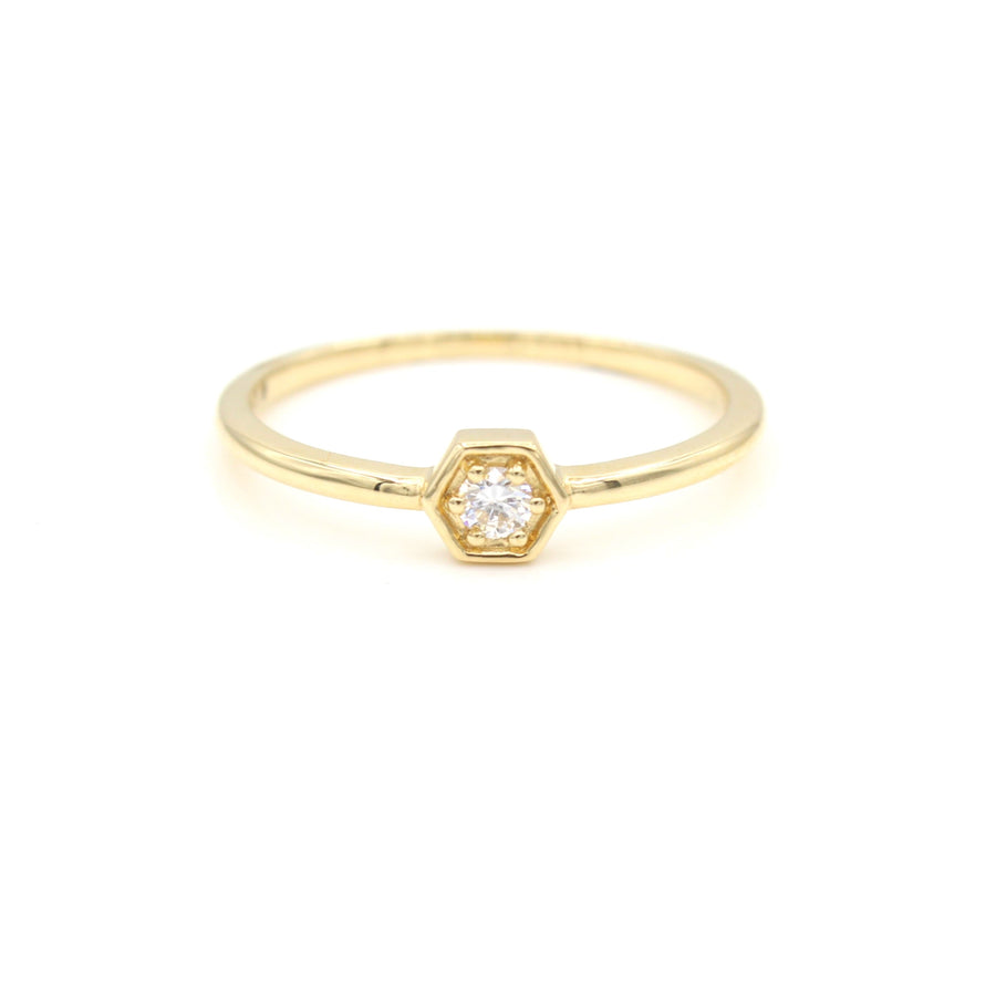 14k Yellow Gold Petite Hexagon Stackable Diamond Ring.