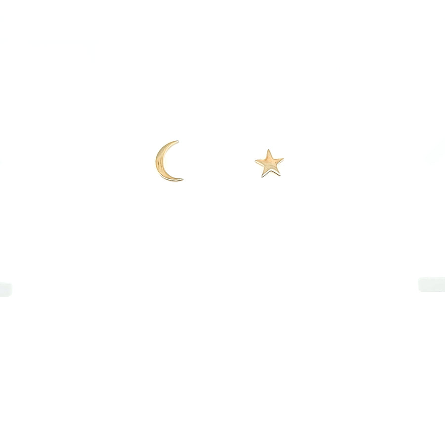 14k Out of This World Star & Moon Stud Earrings
