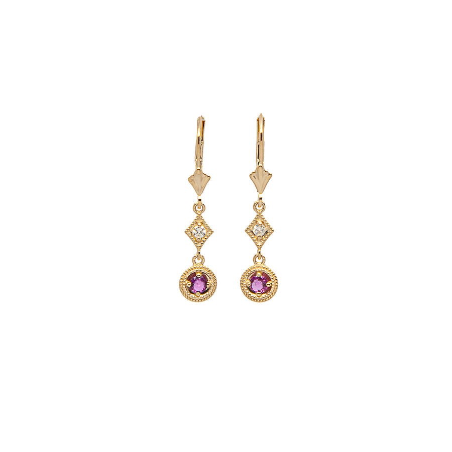 14k Yellow Gold Decadent Deco Ruby Dangle Drop Earrings