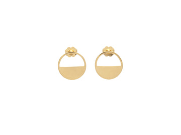 14k Glass Half Full Front Facing Hoop Stud Earrings