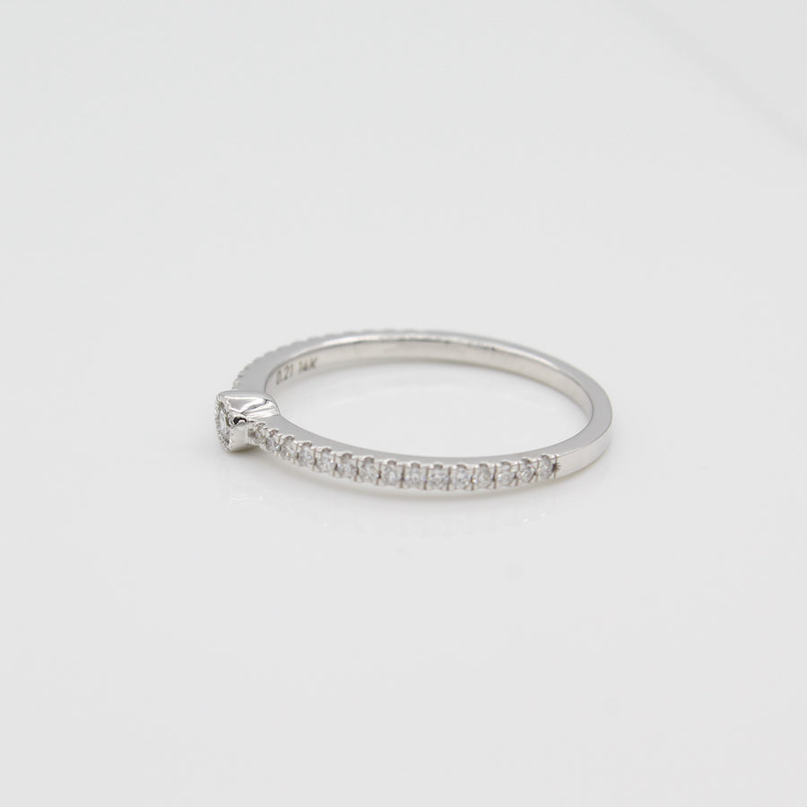 14k White Gold Single Bezel-Set Diamond Station Ring with Micro-Pave Band, side view from right.