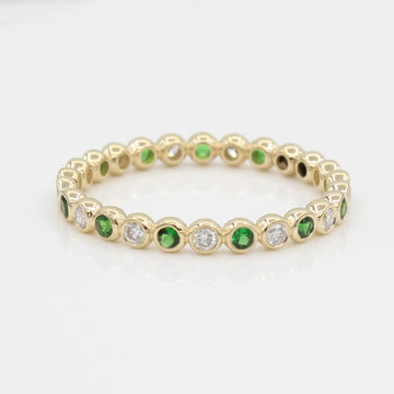 14k  Bezel-Set Diamond & Tsavorite Eternity Band