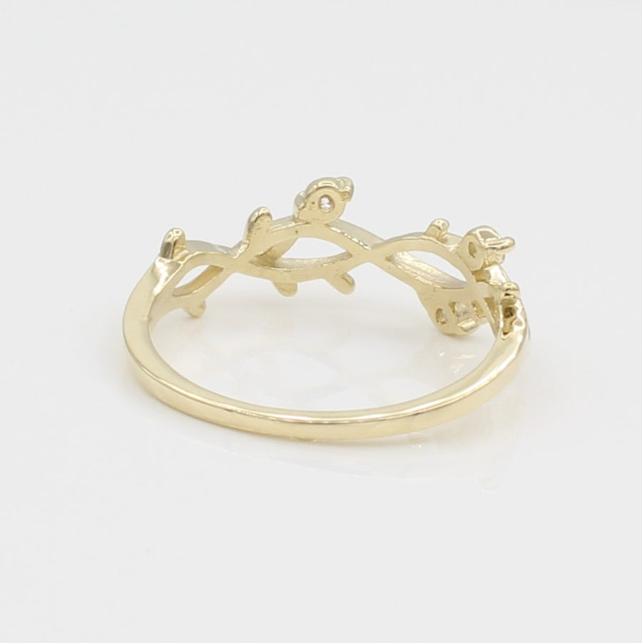 14k Yellow Gold Perfectly Perched Diamond Branch Ring, back view.