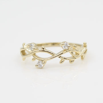 14k Perfectly Perched Diamond Branch Ring