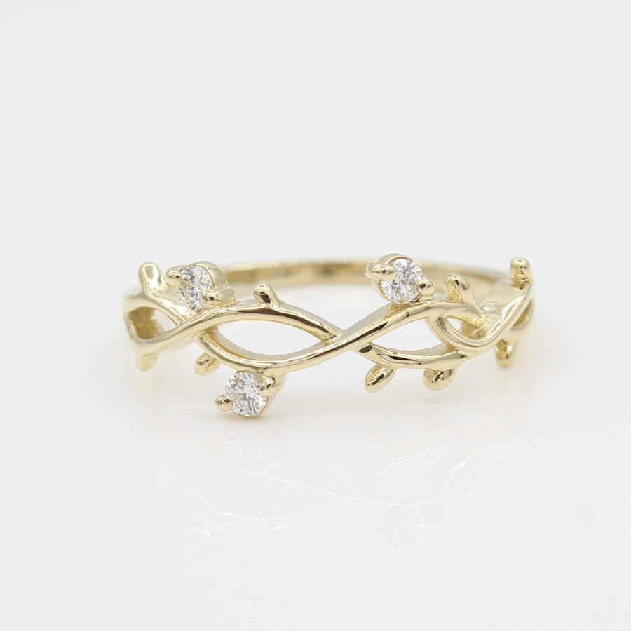 14k Yellow Gold Perfectly Perched Diamond Branch Ring, close-up front view of ring highlighting branch and diamond design.
