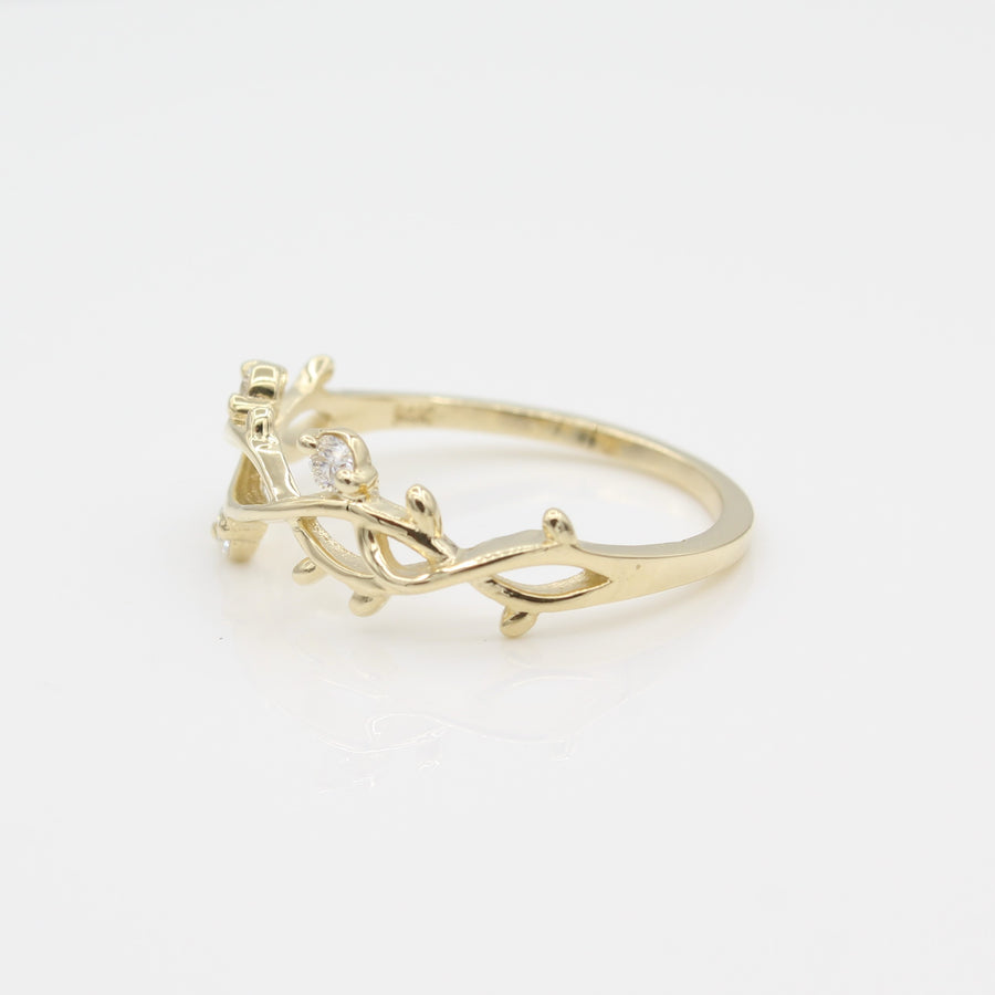 14k Yellow Gold Perfectly Perched Diamond Branch Ring, side view from right.
