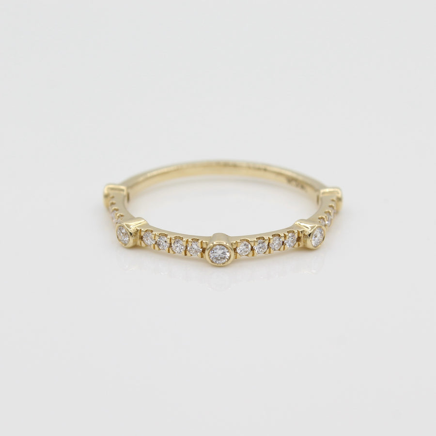 14k Yellow Gold Bezel-Set Diamond 5 Station Ring with Micro-Pave Band, front view.