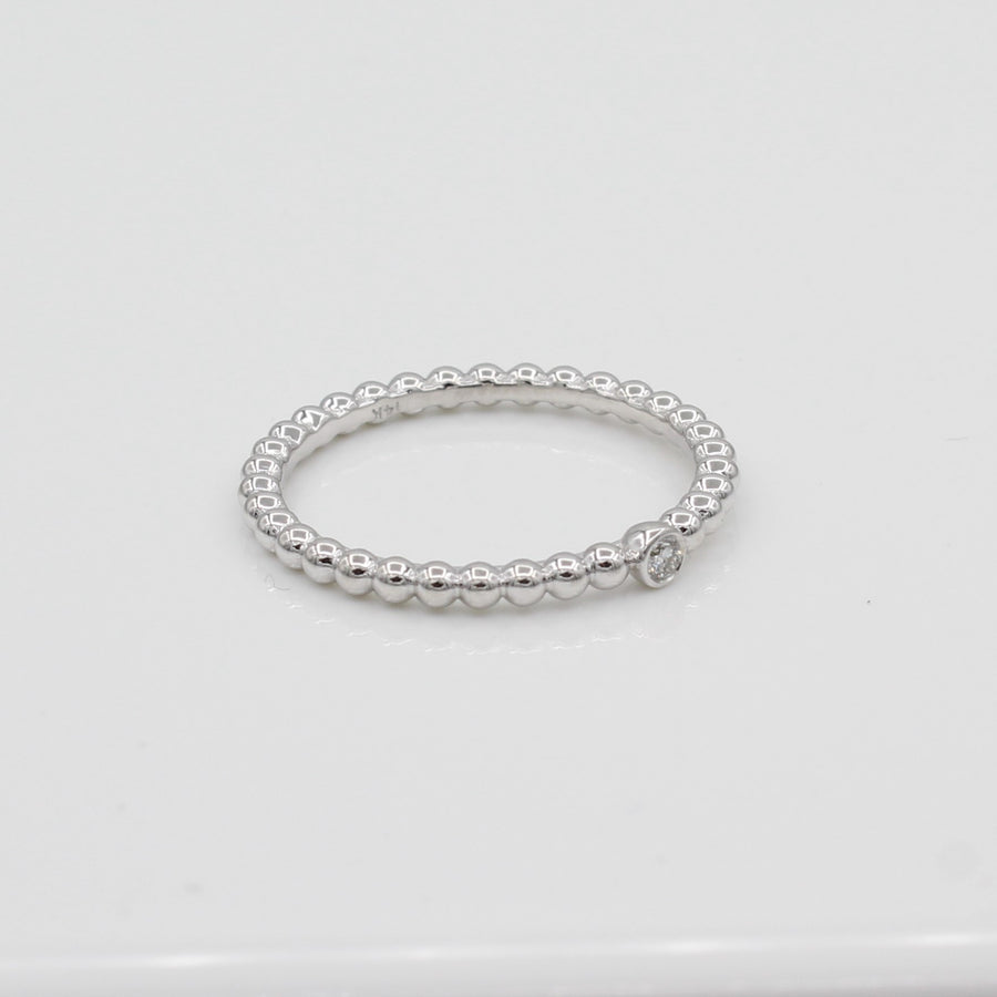 14k Single Bezel-Set Diamond Beaded Ring