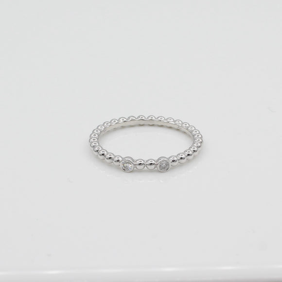 14k Double Bezel-Set Diamond Beaded Ring