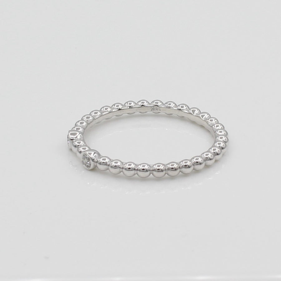 14k White Gold Double Bezel-Set Diamond Beaded Ring, side view from right.