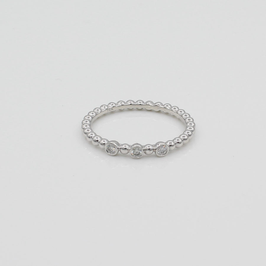 14k White Gold Triple Bezel-Set Diamond Beaded Ring, front view of ring displaying the triple bezel-set diamond design,