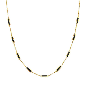 14k Bewitching Black Onyx 9 Bar Station Necklace