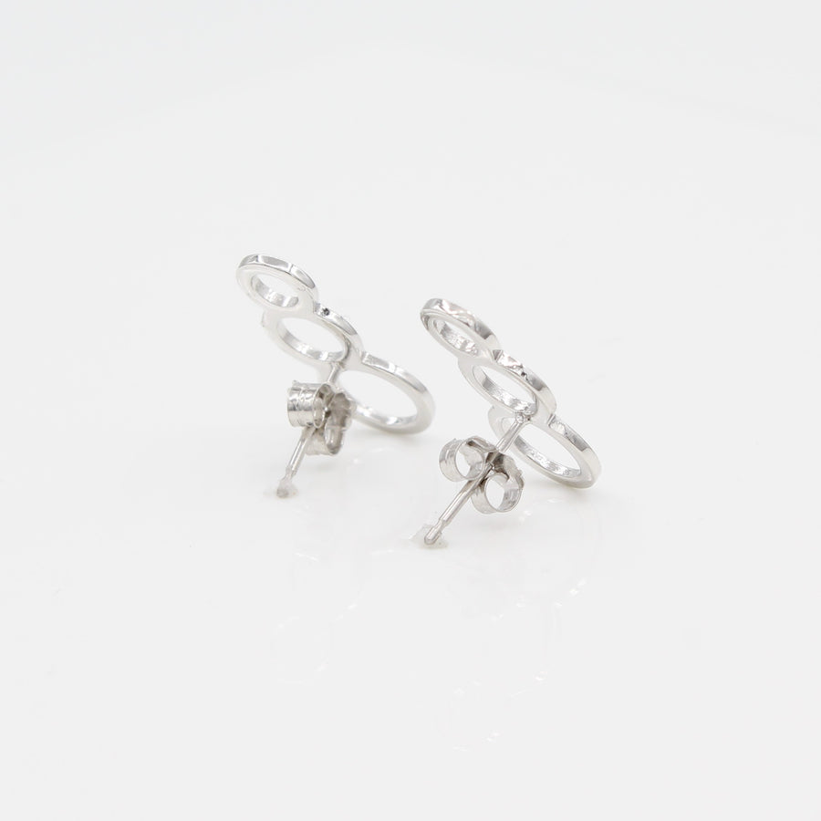 14k White Gold Bubble Ear Climbers Earrings with Posts, back view with a peak of earring posts and backs.