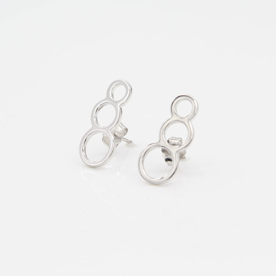 14k White Gold Bubble Ear Climbers Earrings with Posts.