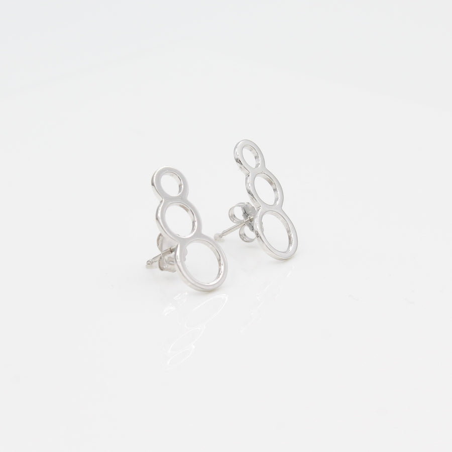 14k White Gold Bubble Ear Climbers Earrings with Posts, left angle view.