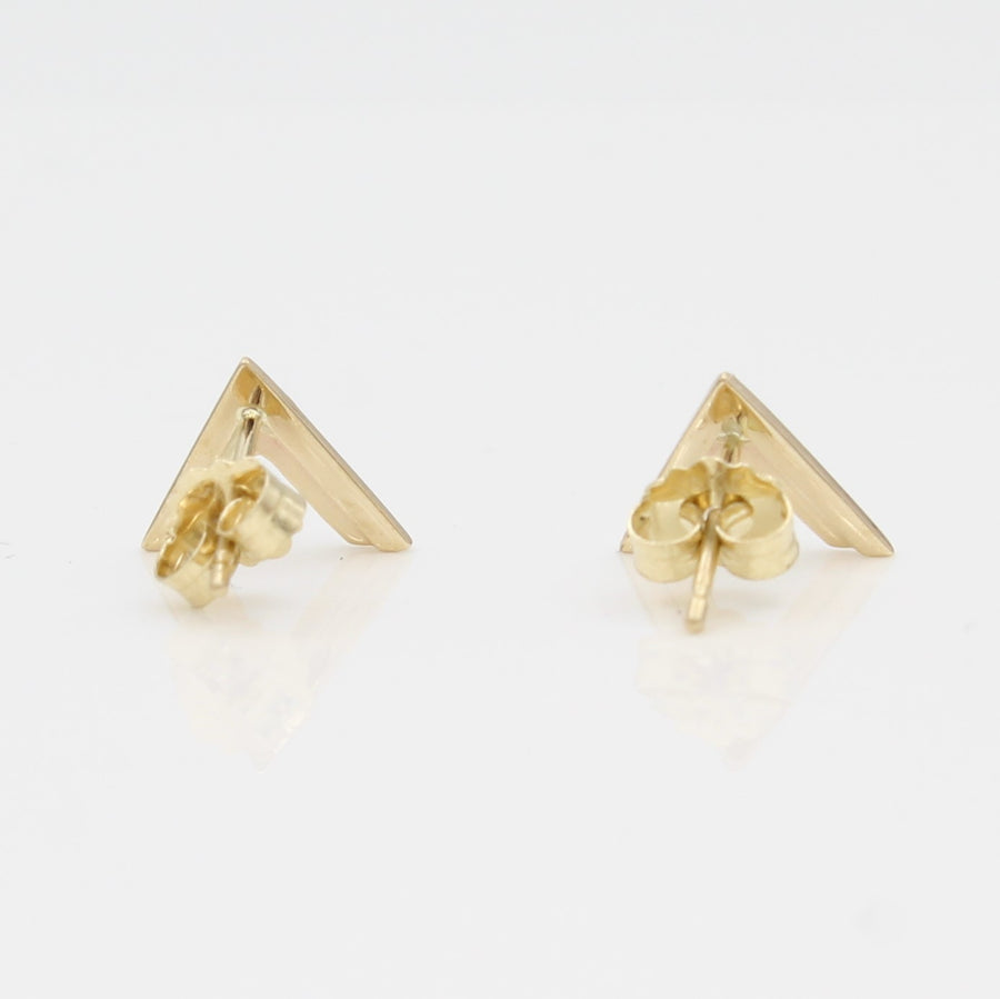 14k Yellow Gold Double Chevron Earrings, back view with a peak at the earring's posts and backs.