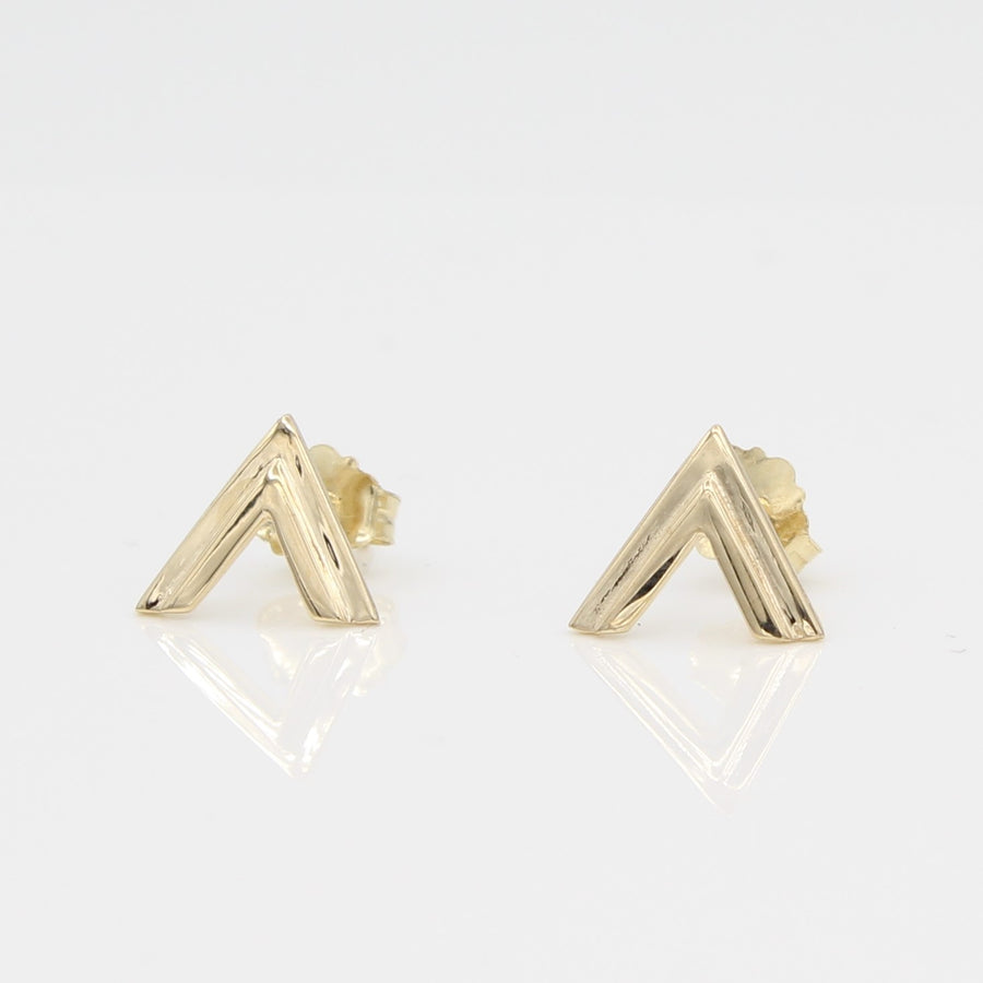 14k Yellow Gold Double Chevron Earrings, close-up front view.