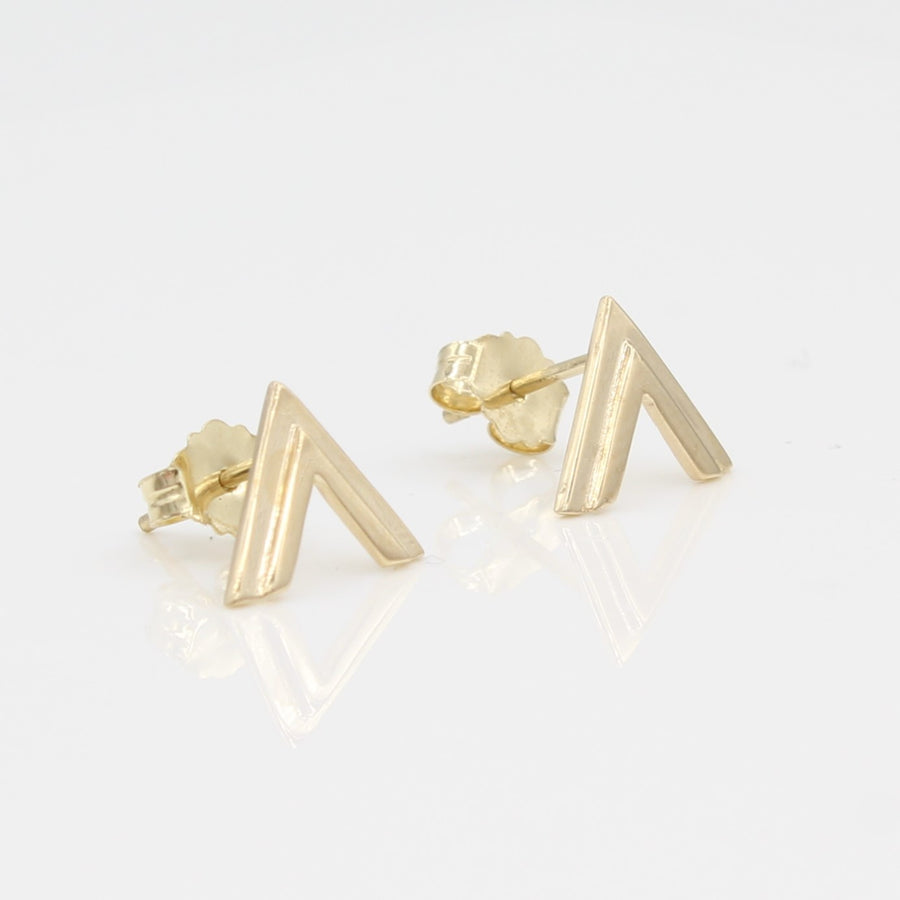 14k Yellow Gold Double Chevron Earrings, close-up left angle view.