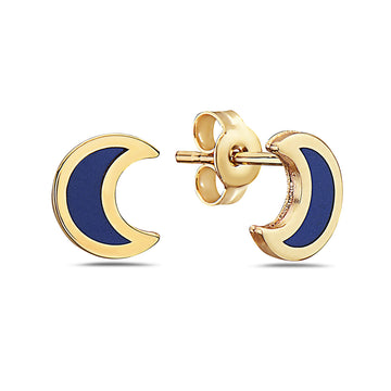 14k  Once in a Blue Moon Lapis Crescent Moon Stud Earrings
