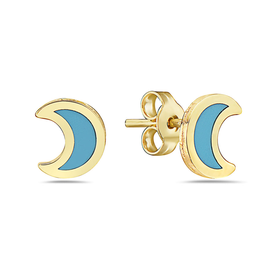 14k  Once in a Blue Moon Turquoise Crescent Moon Stud Earrings