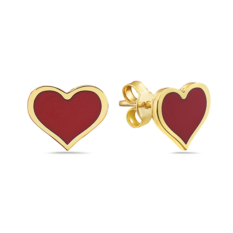 14k  Absolutely Adorable Red Coral Heart Stud Earrings