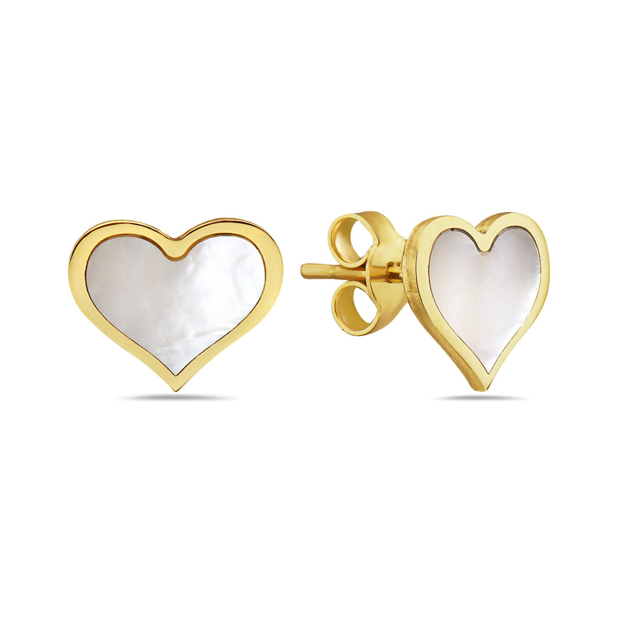 14k  Absolutely Adorable Mother-of-Pearl Heart Stud Earrings