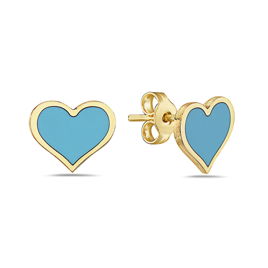 14k  Absolutely Adorable Turquoise Heart Stud Earrings