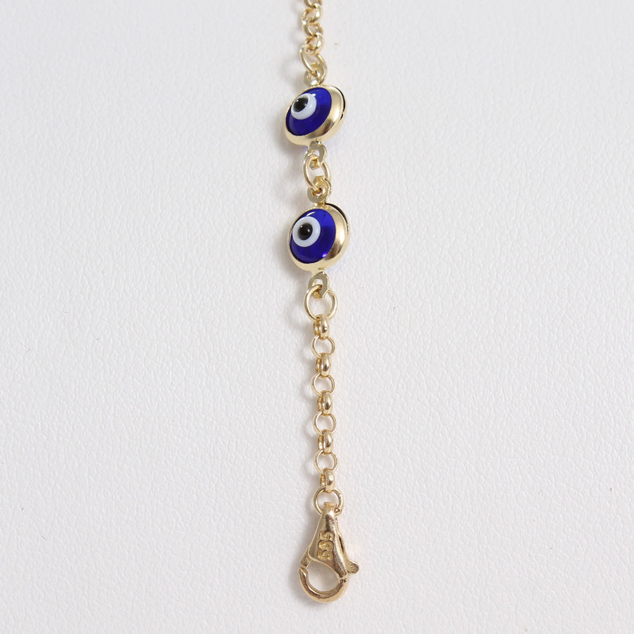 14k Dark Blue Evil Eye Bead Chain Link Bracelet