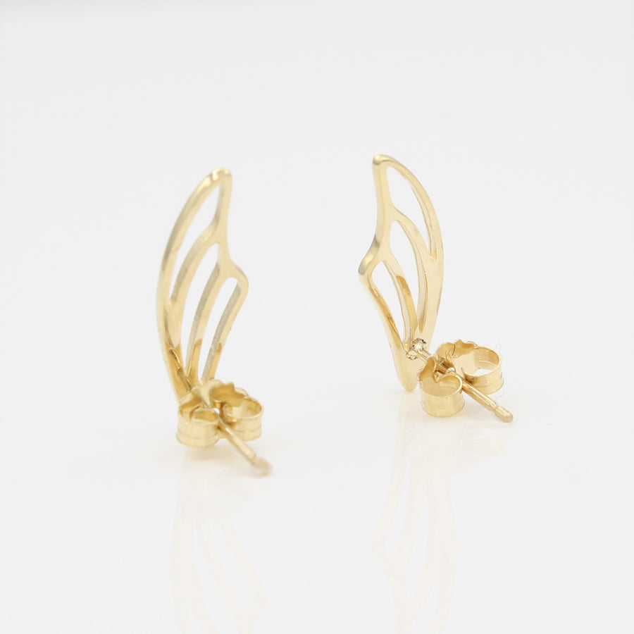 14k Yellow Gold Fairy Wing Ear Climbers Earrings with Posts, back view.