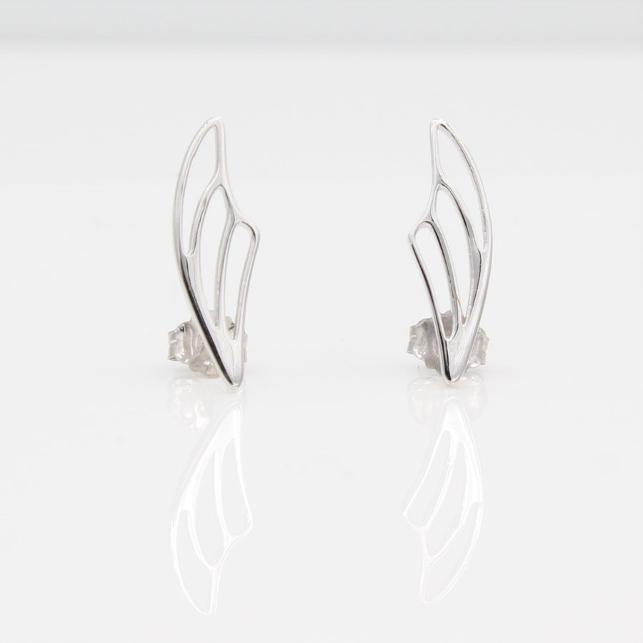 14k White Gold Fairy Wing Ear Climbers Earrings with Posts, front view.