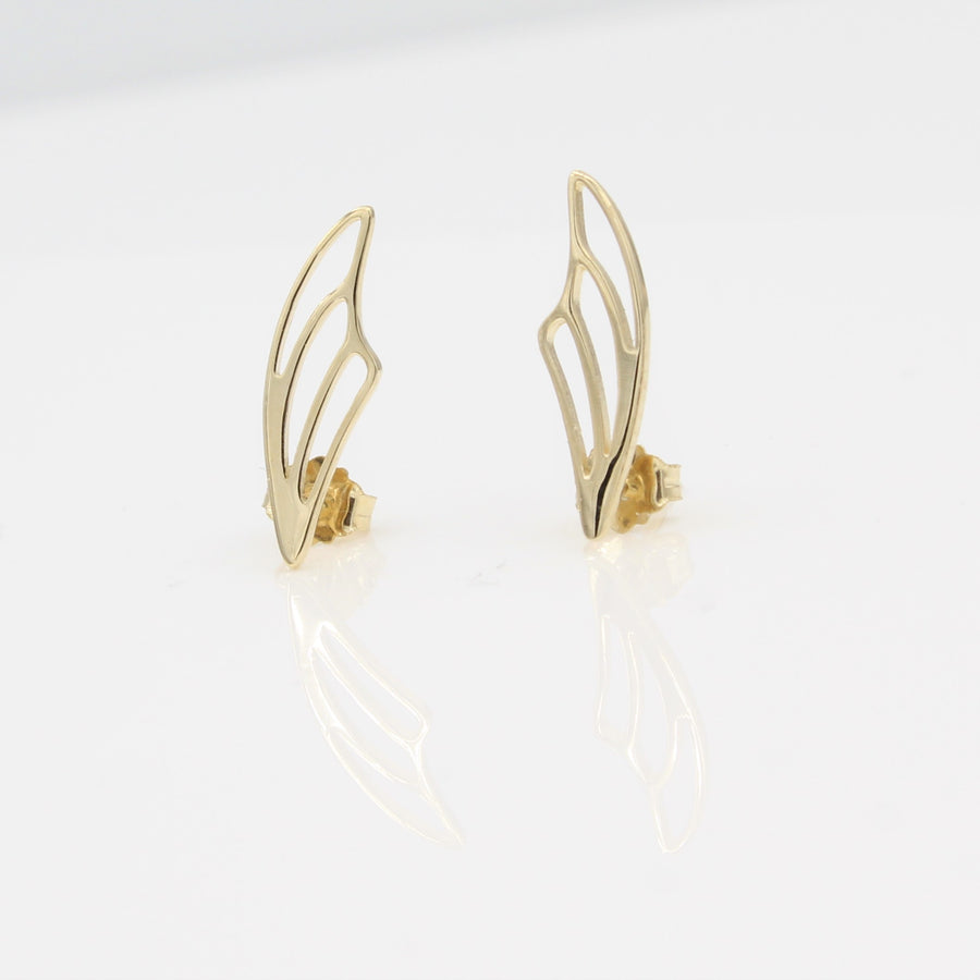 14k Yellow Gold Fairy Wing Ear Climbers Earrings with Posts, close-up front view.