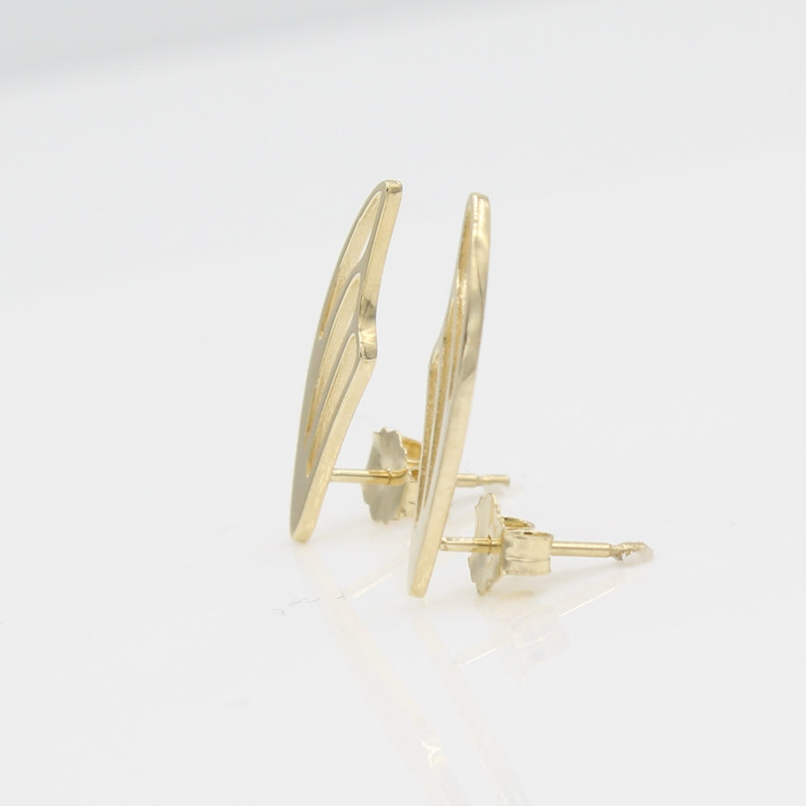 14k Yellow Gold Fairy Wing Ear Climbers Earrings with Posts, side view from right with a peak of the earring posts and backs.