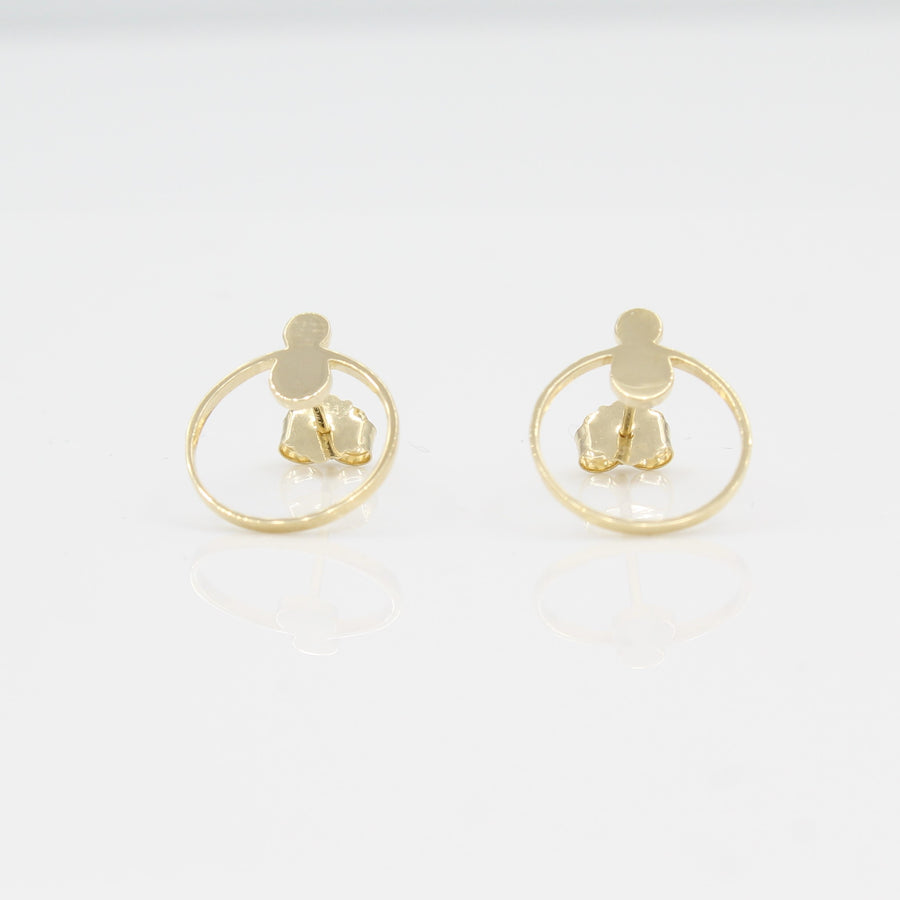 14k Yellow Gold Open Circle Front Facing Hoop Stud Earring, front view with a peak of earring back