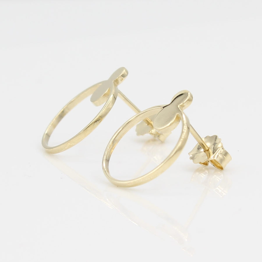 14k Yellow Gold Open Circle Front Facing Hoop Stud Earrings, right angle view with a peak at the posts and earring backs