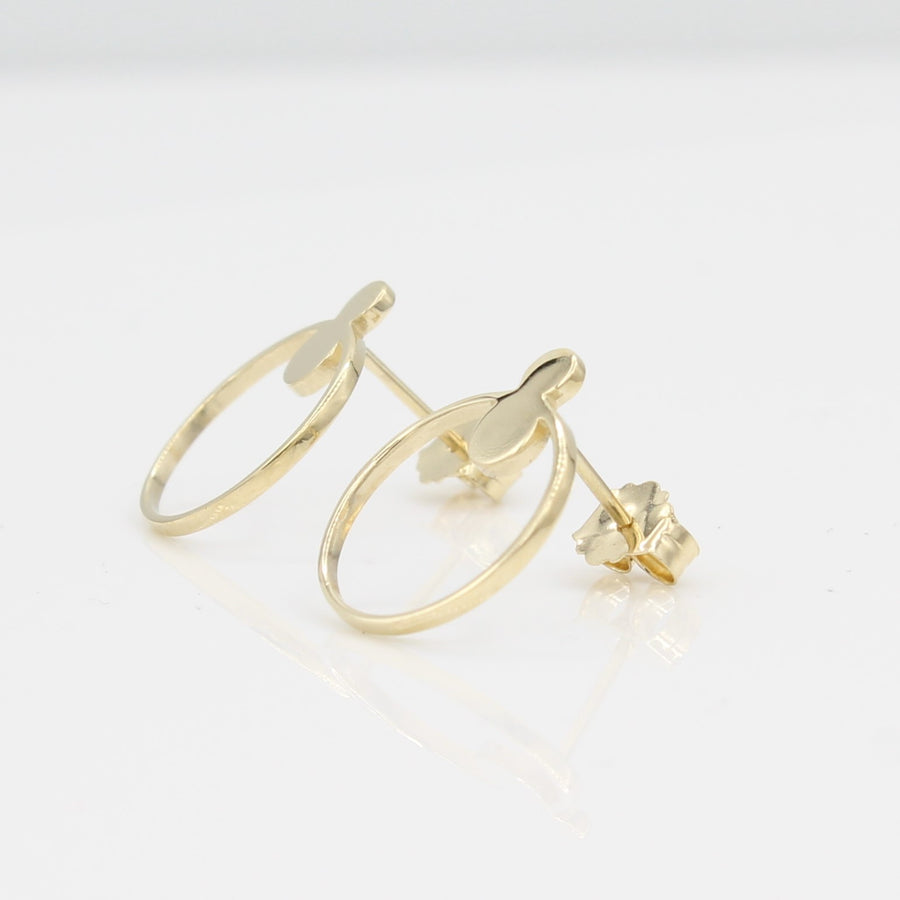 14k Yellow Gold Open Circle Front Facing Hoop Stud Earrings, right angle view