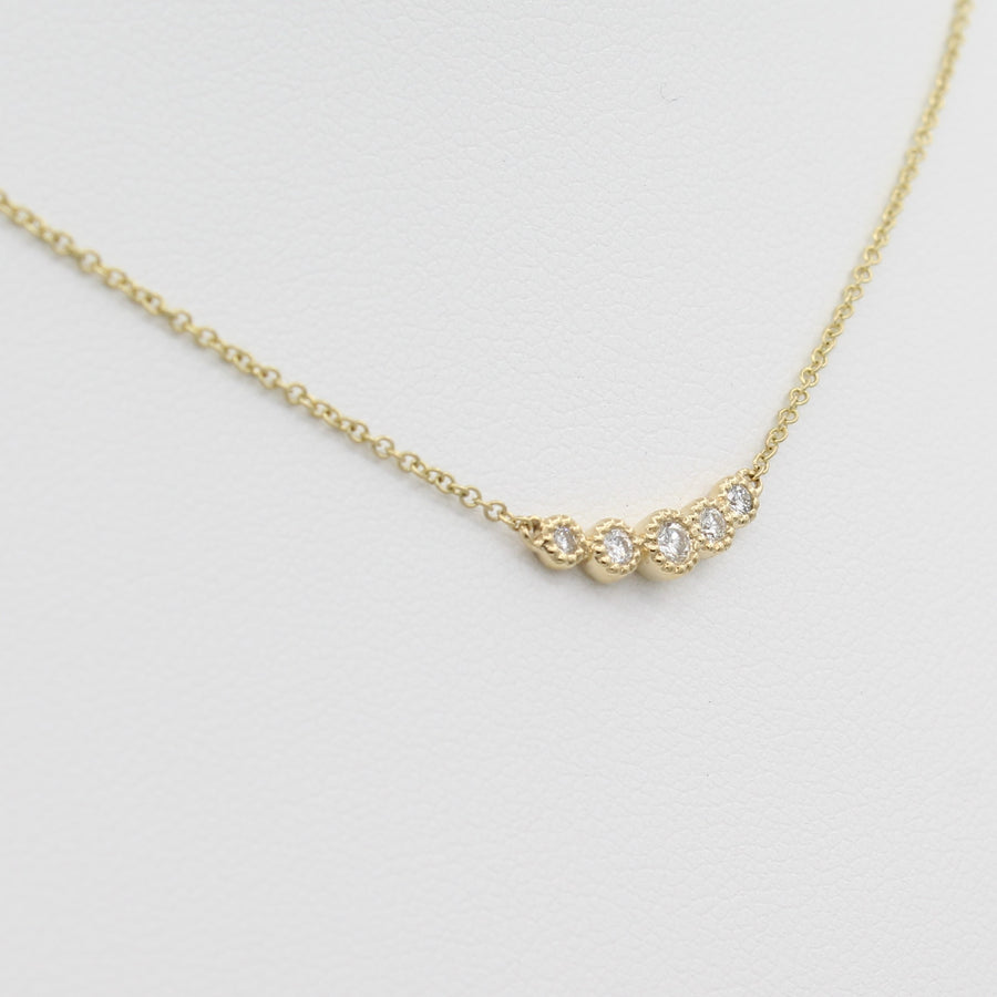14k Gold Bezel-Set Graduated Diamond Bar Pendant