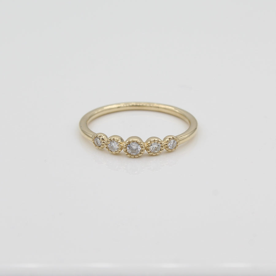 14k Gold Bezel-Set Graduated Diamond Band