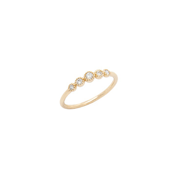 14k Gold Graduated White Diamond 5 Stone Fashion Ring