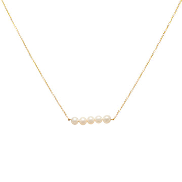 14k Yellow Gold Cultured Freshwater Pearl Bar Pendant.