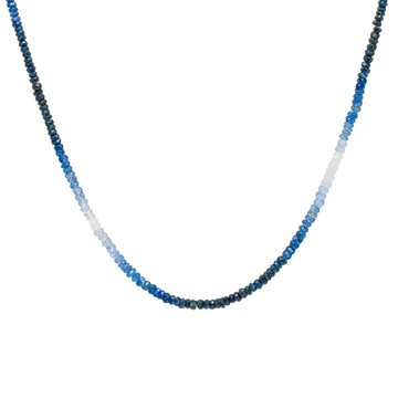 40 CT gradient color ombre blue sapphire choker necklace