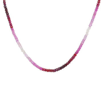 40ct red and pink ruby gradiant color ombre choker necklace