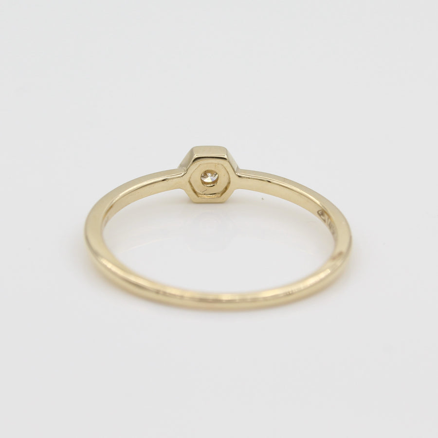 14k Yellow Gold Petite Hexagon Stackable Diamond Ring, back view.