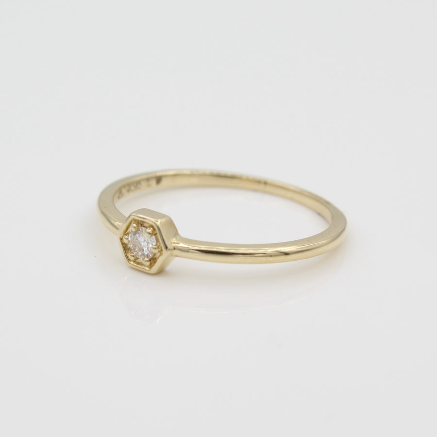 14k Yellow Gold Petite Hexagon Stackable Diamond Ring, side view from right.