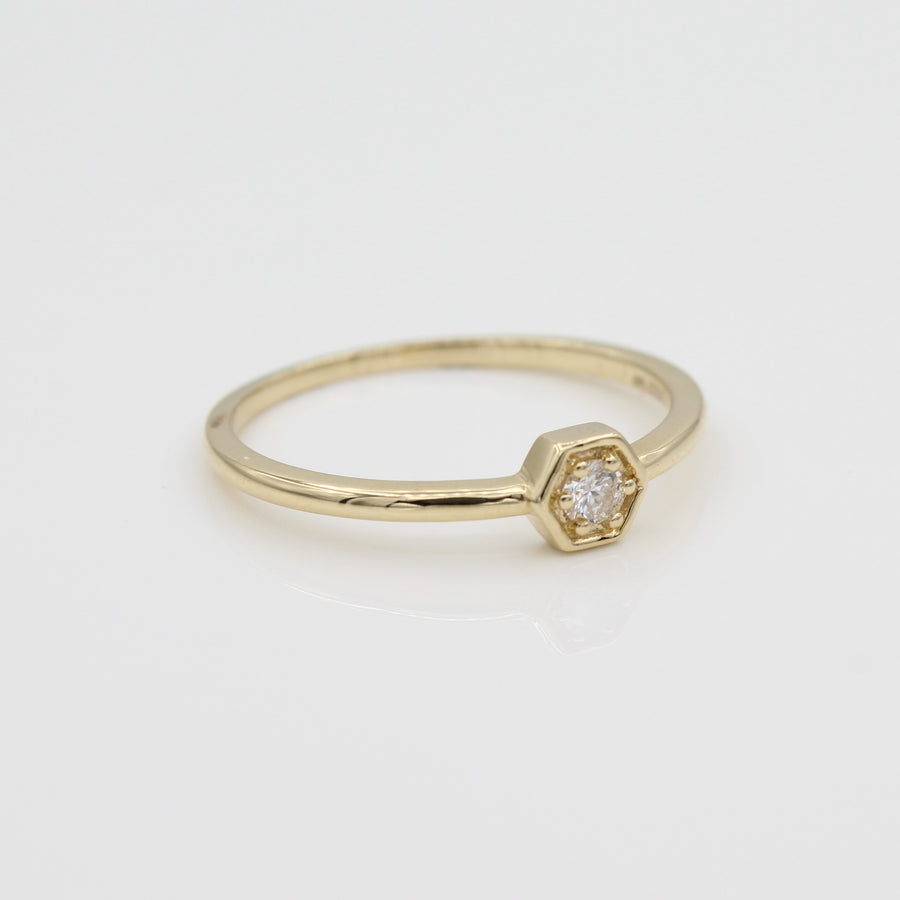 14k Yellow Gold Petite Hexagon Stackable Diamond Ring, side view from left.