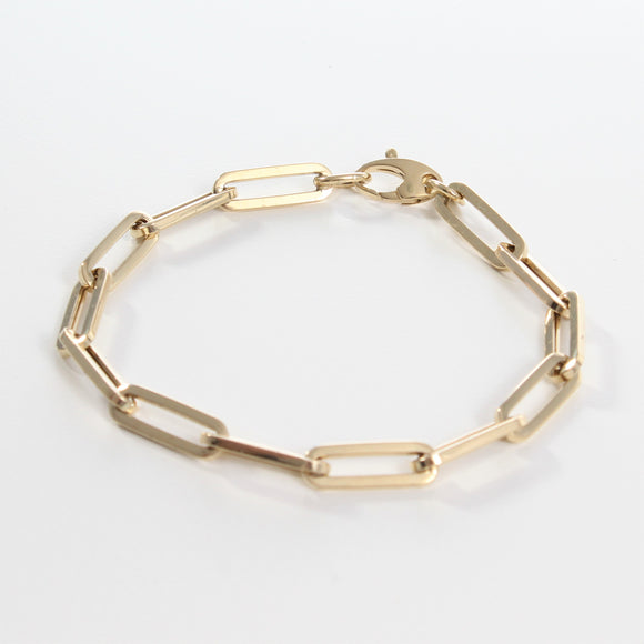 14k Retro Elongated Link Paperclip Large Link Bracelet