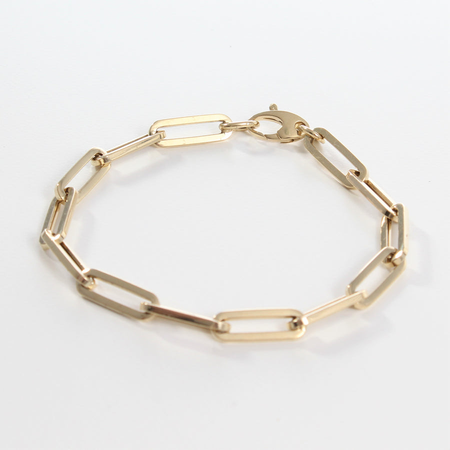 14k Yellow Gold Retro Elongated Link Paperclip Large Link Bracelet.